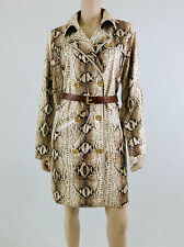 NWT $350 MICHAEL KORS Trench Coat Double Breasted Faux Leather Python Tan 10