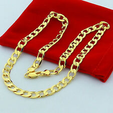 24K Gold Plated Stainless Steel Curb Cuban Link Chain Men's Necklace NEW