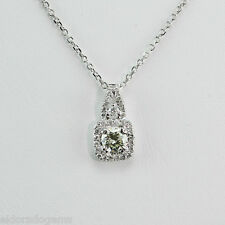 NECKLACE 0.80 CT. GENUINE DIAMOND CLUSTER SOLITAIRE PENDANT 14K WHITE GOLD 16""