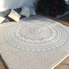 Indian Mandala Queen Size Bedding Cover Silver Ombre Bedspreads Bed Cover Throw