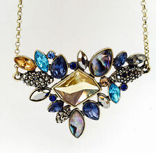 Yellow Turquoise Blue Abalone Shell Crystal Statement Necklace