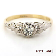 Vintage 1940's Charming Diamond Ring in 18ct Two Tone, Size Q+