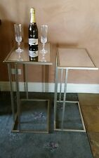 SET OF 2 SIDE TABLES RECTANGULAR  COFFEE  CHAMPAGNE MIRROR TOP EX DISPLAY NEW