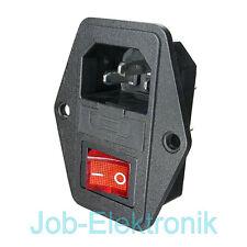 Kaltgerätestecker mit Sicherungshalter 2-poligen Wippschalter Schraubmontage C14