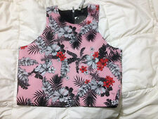 COTTON ON 'ALANIS' CUT AWAY FLORAL CROP TOP NEOPRENE BNWT SZ M FREE POST (A55)