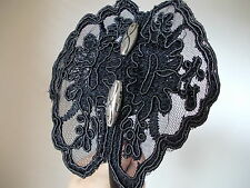 New Ladies Black lace with vintage look Silver beads alice/headband fascinator