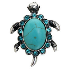 Saucy Silver Blue Crystal Turquoise Tibetan Butterfly Ring Women Jewelry Gift