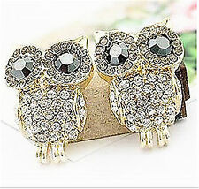 Gold plated bling owl earrings with sparkly crystal