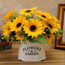7 Heads Pop Fake Sunflower Artificial Silk Flower Bouquet Home Floral Decor HOT