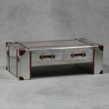 Large Industrial Vintage Style Silver Metal Travel Trunk Coffee Table - New