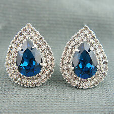 18k white Gold plated Swarovski crystals Diamond simulant teardrop earrings