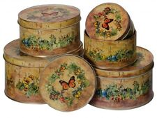 Set Of 5 Shabby Chic Vintage Style Butterfly Round Storage Tins with Lids