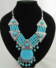 STUNNING TURQUOISE AND ANTIQUE SILVER COLOURED PARTY TIME STATEMENT NECKLACE