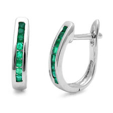Beautiful 1.00 Carat Round Green Emerald Hoop Earring Crafted in White Gold.