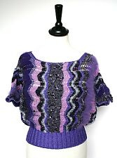 Vintage 1980s purple sparkly knit wool jumper top - UK 8