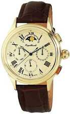 ENGELHARDT MEN'S WATCH AUTOMATIC GOLD BROWN LEATHER WRIST BAND MOON PHASE 10.450