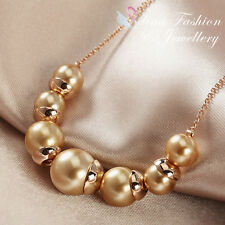 18K Rose Gold Plated Delicate Brown Simulated Pearl Necklace Fashion Jewellery