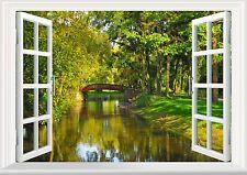 River Trees Bridge Garden Green 3D Effect Window View Vinyl Wall Sticker Size A3