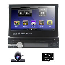 """7"""" Single 1 Din Car MP3 DVD Stereo Player Touch Screen GPS IPOD Radio BT"""