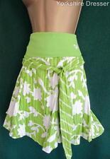New ROXY QUICKSILVER Lime Green Flower Print Cotton Skater SKIRT - Uk 14 'Large'