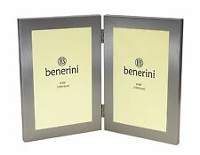 """Silver Colour - Twin 2 Picture Vertical Double Folding Photo Frame 4 x 6"""""""