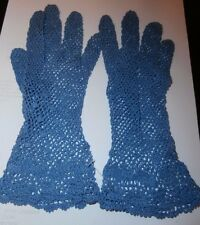 PAIR QUALITY VINTAGE BLUE COTTON LACE LADIES GLOVES ~ size 6 1/2-7