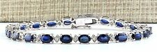 14.60CTW NATURAL SAPPHIRE AND DIAMOND BRACELET  IN 14K SOLID WHITE GOLD