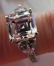 Diamonique 5.3ct tw Asscher Cut pink Solitaire Ring Sterling Silver size L