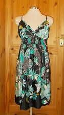OASIS black turquoise blue green floral strappy summer holiday sun dress 12 38