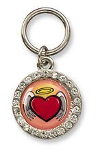 Crystals & Angel Heart Pet Dog Collar Charms, Key Rings, Jewellery, Gift - 21mm