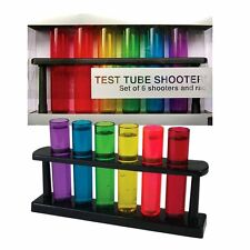 Funky Multi Coloured Test Tube Party Shooters Shot Glasses Set of 6 - Boxed Gift