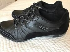 Size 10 Woman's Elastic LaceBlack Walking Working Workout Slip On Athletic Shoes