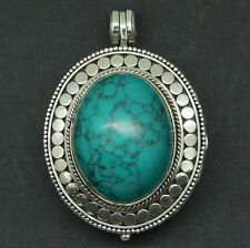 Designer Turquoise Box Pendant in solid 925 Sterling Silver (New)