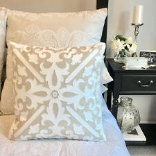 Taupe & White Cushion/Inc Insert/Hand Made & Embroidered Design/Square Pillow