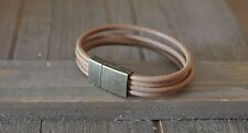 GENUINE LEATHER bracelet link charms natural gift Idea magnetic charm Bronze