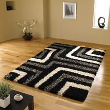 "Modern Thick Shaggy Black & Grey Rug in 120 x 170 cm (4'x5'6"") Carpet"
