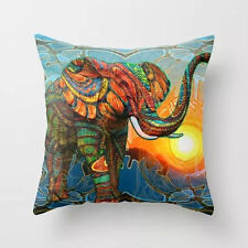 Velvet Cotton Square Colorful Elephant Throw Cushion Cover Pillow Cases Home