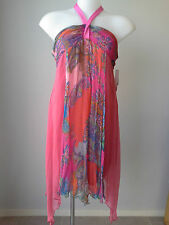 BNWT LILI s 14 Silk Halter Neck Hippie Boho Dress RRP$176.00 Buy Any 3=Free Post