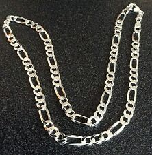 GIFTS FOR MEN 925 Sterling Silver Figaro Link Chain Necklace 6mm W 605mm L