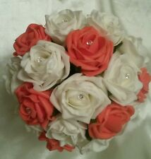Ivory & Coral Orange Foam Rose Artificial Wedding Flower Package NEW