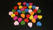 10 Pack ~ Mixed Colour Wooden HEART Beads ~ 18mmx15mm ~ FREE POST