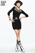 Women Lady Girl Knit Sweater houndstooth Tunic check Skirt Dress