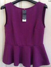 Brand New Therapy By HOUSE OF FRASER Royal Purple Peplum Top UK 10/12 RRP£28.00
