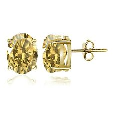 Gold Tone over Sterling Silver Citrine 7x5mm Oval Stud Earrings