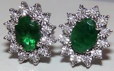 18CT WHITE GOLD OVAL CUT EMERALD & 0.1CT DIAMOND CLUSTER EARRINGS