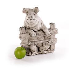 Schwein am Zaun Gartenfiguren Steinfiguren Sandstein Steinguss frostfest 442886