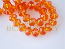 50pcs 4x6mm Faceted Rondelle Crystal Glass Loose Spacer Bead Orange Red