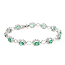 18K White Gold 3.95 Cttw Emerald & 0.88 cttw Diamonds Tennis Ladies Bracelet