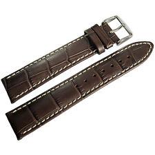 20mm Hirsch Modena Mens Brown Alligator-Grain Leather Watch Band Strap