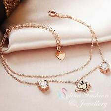 18K Rose Gold Plated Simulated Diamond Lovely Double Chain Elephant Bracelet
